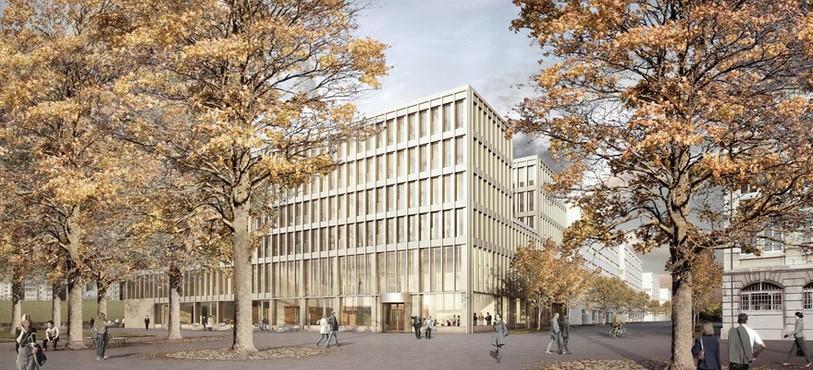 La place de la Gare telle qu'imaginée dans le projet du Nouvel Hôtel Judiciaire. Source : Isler Gysel Architekten, Zürich