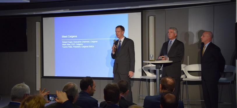 Les trois principaux dirigeants de la fime Celgene : Tuomo Pätsi, Robert Hugin et Mark Alles (de g. à dr.).