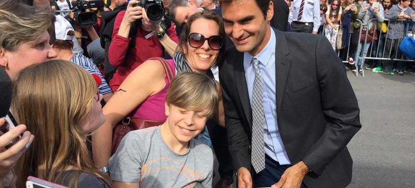 Roger Federer a réjoui ses fans jeudi à Bienne.