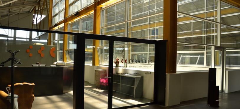 L'entrée des locaux de Creaholic au centre de Bienne