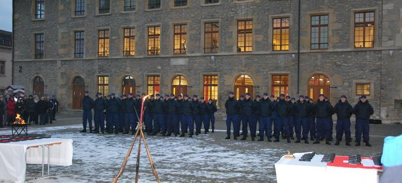 La première volée d'aspirants policiers du Centre interrégional de formation de police.