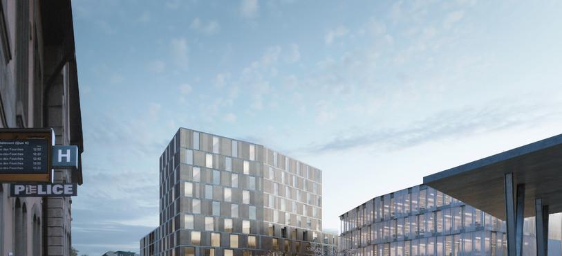 Le nouveau projet immobilier vu de la Place de la gare