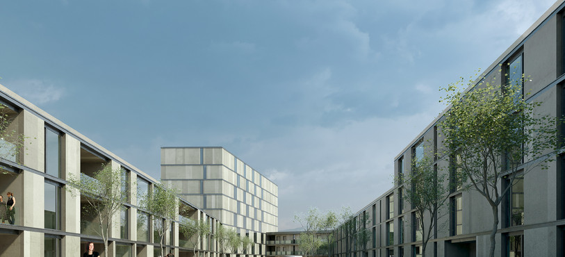 Le nouveau projet immobilier vu de sa cour intérieure