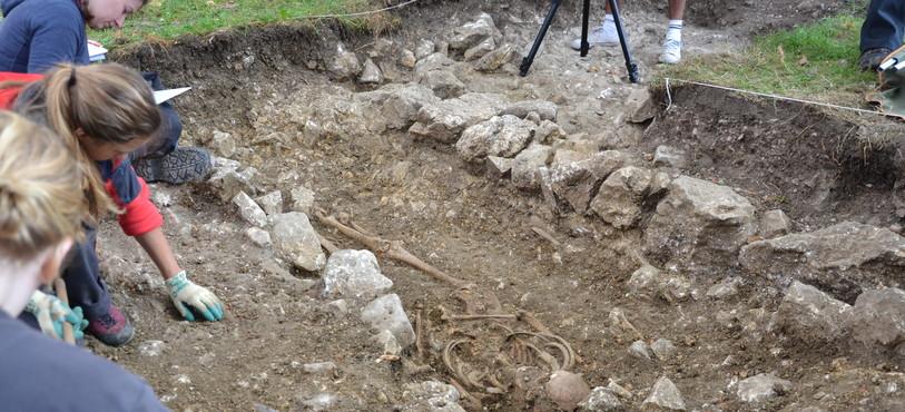 Vue d'un squelette de l'époque médiévale