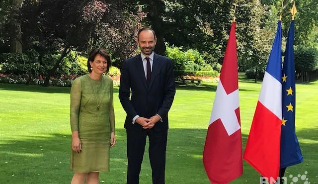 La présidente de la Confédération Doris Leuthard, reçue mardi 18 juillet à Matignon par le Premier ministre français Edouard Philippe.