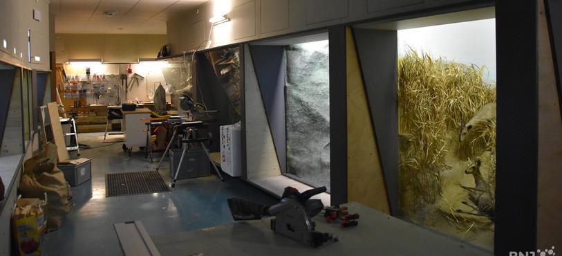 Les allées du musée sont transformées en un atelier géant.