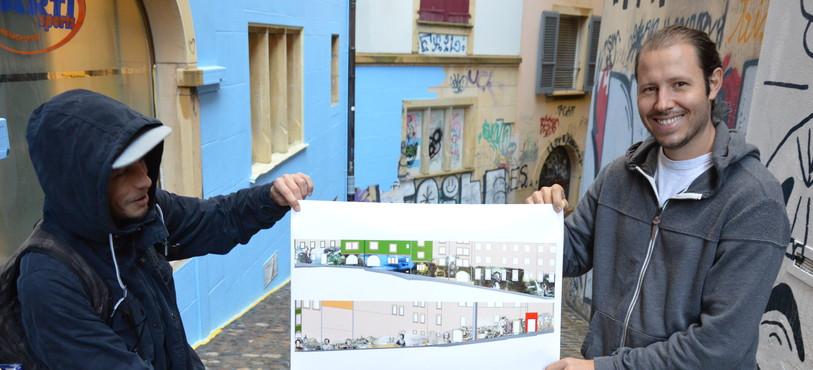 Wilo (à gauche) et Kesh (à droite) sont deux des artistes graffeurs qui vont réaliser la fresque