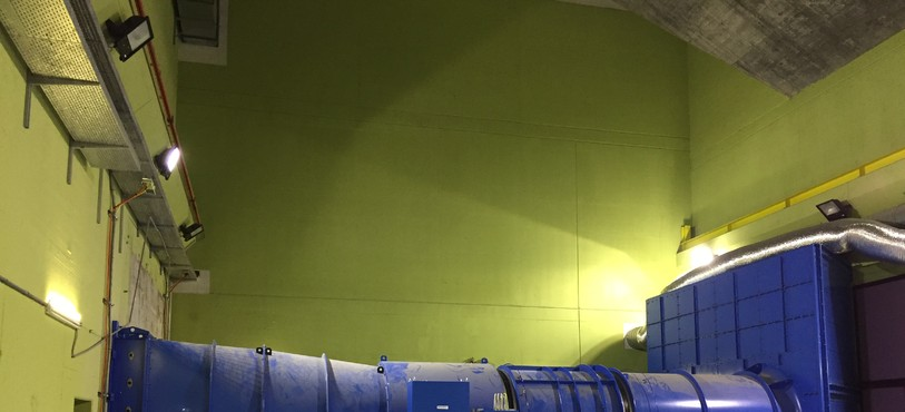 Un des quatre ventilateurs Saccardo installé en 2017 dans le tunnel du Mont-Terri