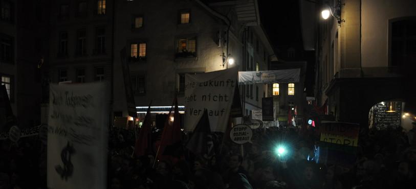 Manifestation, Grand Conseil bernois, coupes budgétaires