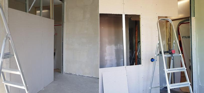 on pose les premiers panneaux, puis on crée les ouvertures porte et vitre
