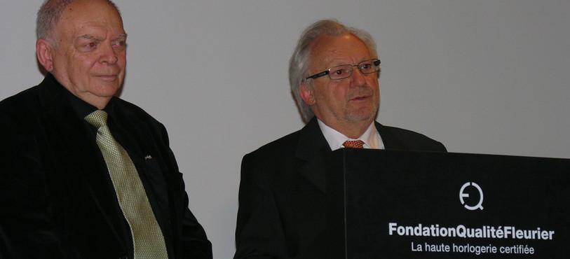 Antoine Simonin, président de la commission technique, et Jean-Patrice Hofner, président de la Fondation Qualité Fleurier