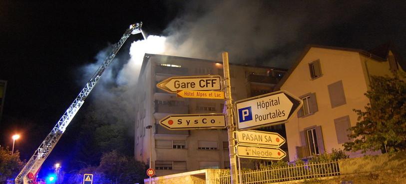 Incendie Neuchâtel, rue de Belleroche